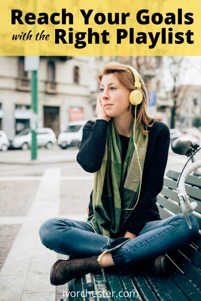 girl listening to music with yellow headphones