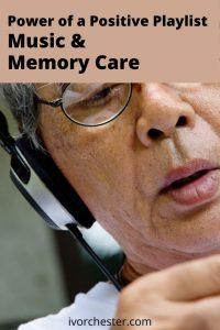 older man listening with headphones